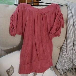 Pink knit blouse